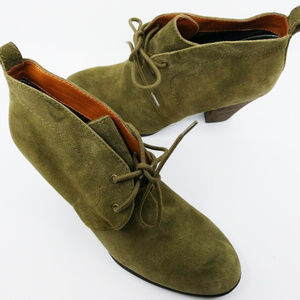 Lucky Brand Women Leather Block Heel Green Lace Up